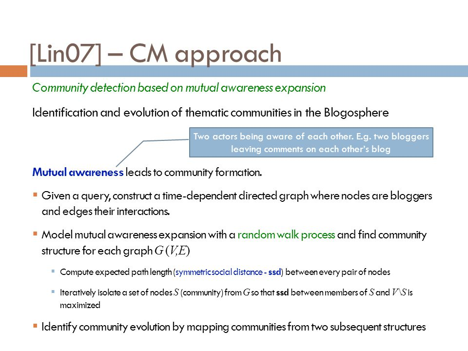 [Lin07] – CM approach Community detection based on mutual awareness expansion.